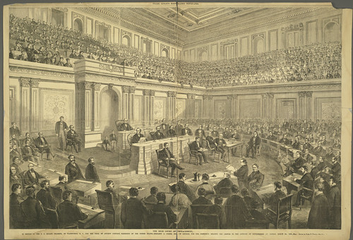 Engraving of U.S. Senate conducting Johnson impeachment trial.